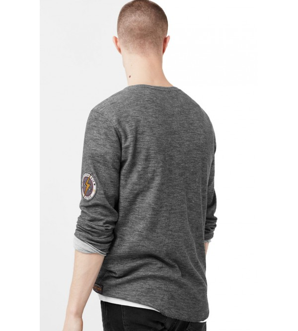 MANGO Mens Henley Cotton T Shirt