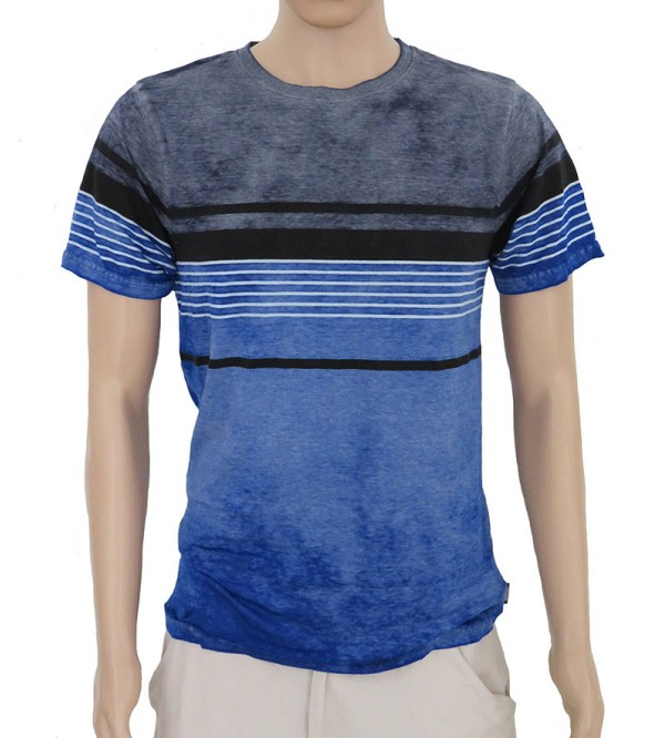 Mens Cold Pigment Dyed Striped T Shirt