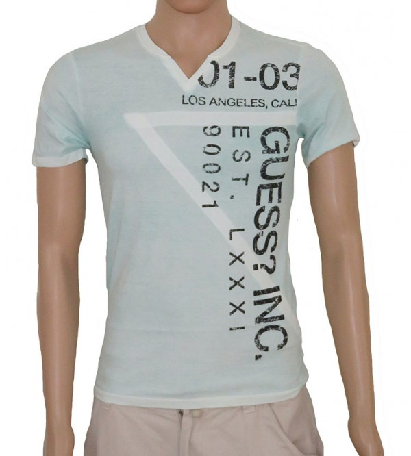 Mens V Neck Cold Pigment Dyed T Shirt