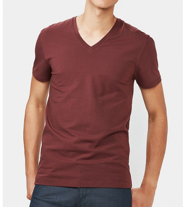 Mens V-Neck Slub Yarn T-Shirt (Organic Cotton)