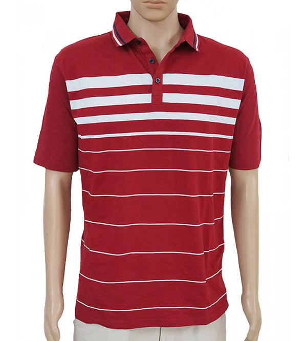 Mens short sleeve striped polos