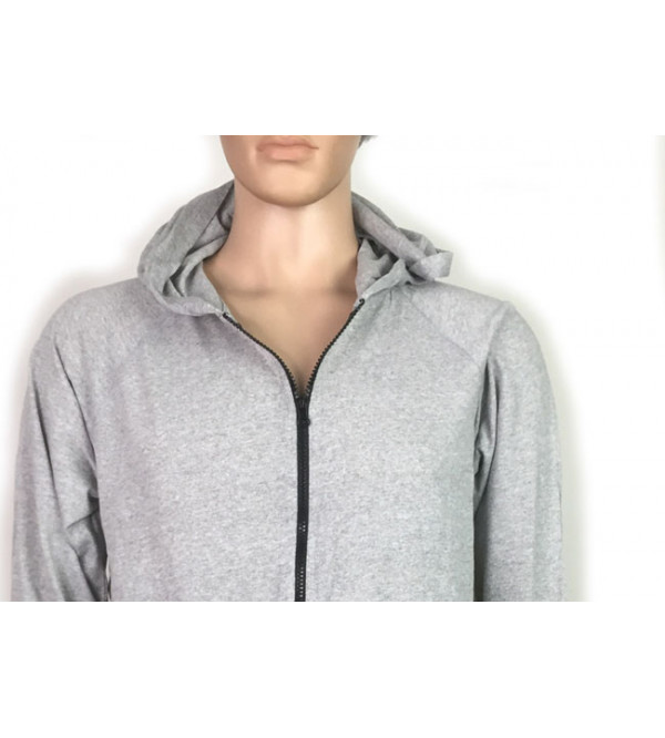 Mens Hooded T Shirt With Full Zipper