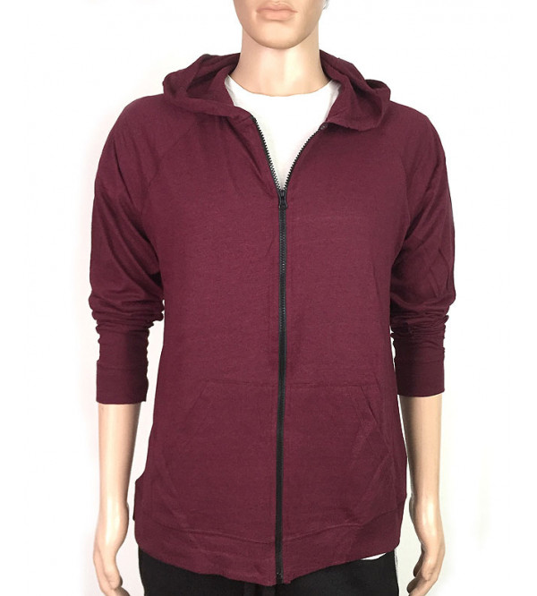 Mens Light Weight Full Zipper Hooded T Shirt