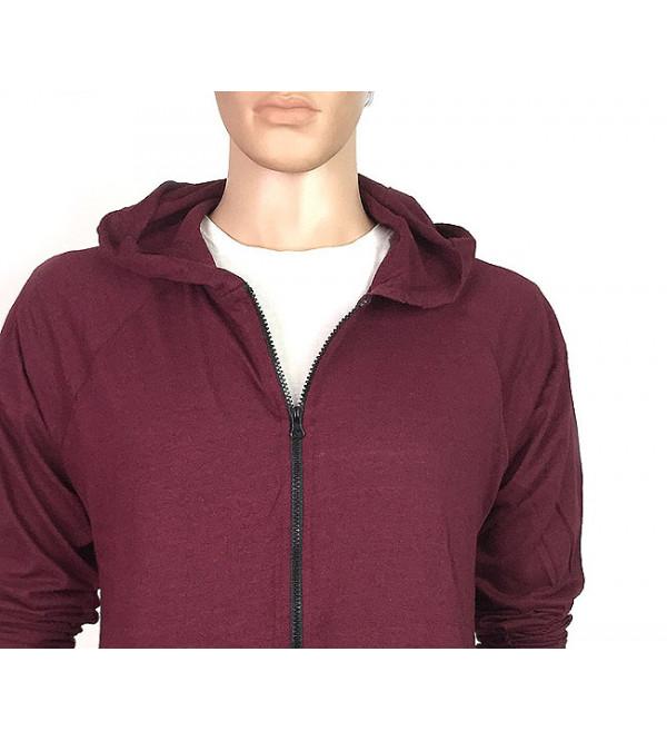 Mens Hooded T Shirt With Full Zipper