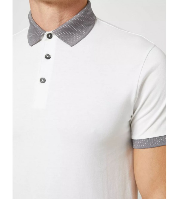 Burton Mens Jacquard Collar Polo Shirt