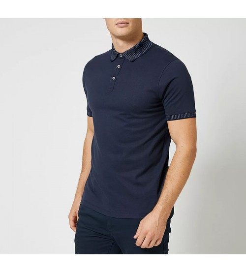Burton Mens Jacquard Collar Polo Shirt