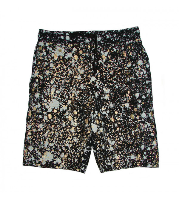 Mens Paint Splatter Glitter Printed Shorts