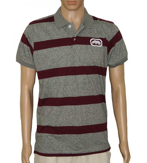Mens Short Sleeve Striped Fancy Polo