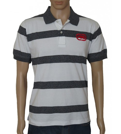 Mens Short Sleeve Striped Fancy Polo