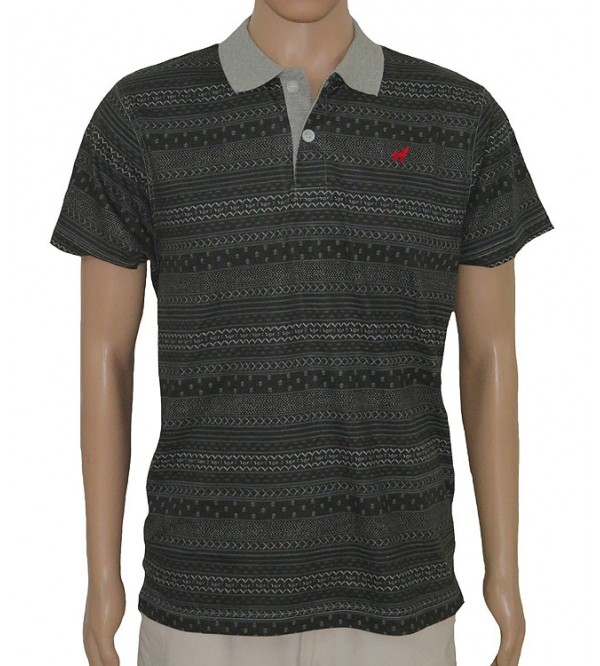 Mens Short Sleeve Striped Fancy Polos