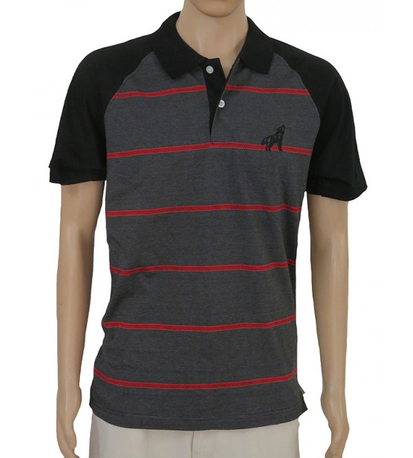 Mens Short Sleeve Striped Fancy Polos
