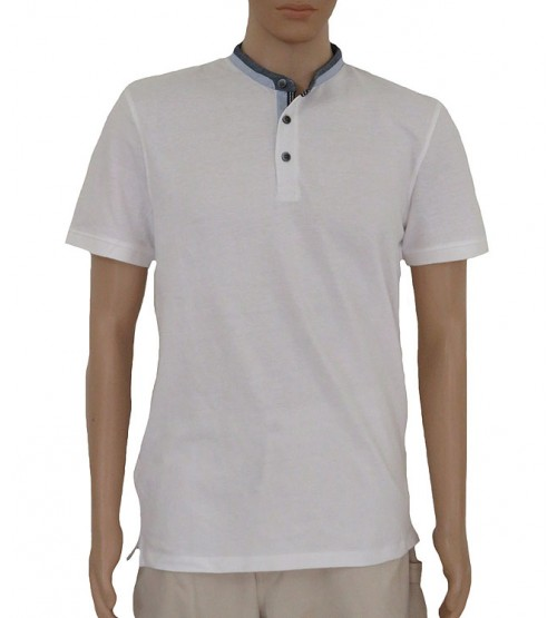 Mens Short Sleeve Mandarin Collar T Shirts