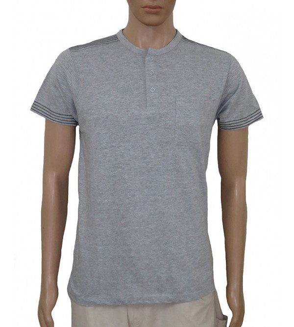Mens Henley Cotton T Shirt With Pocket
