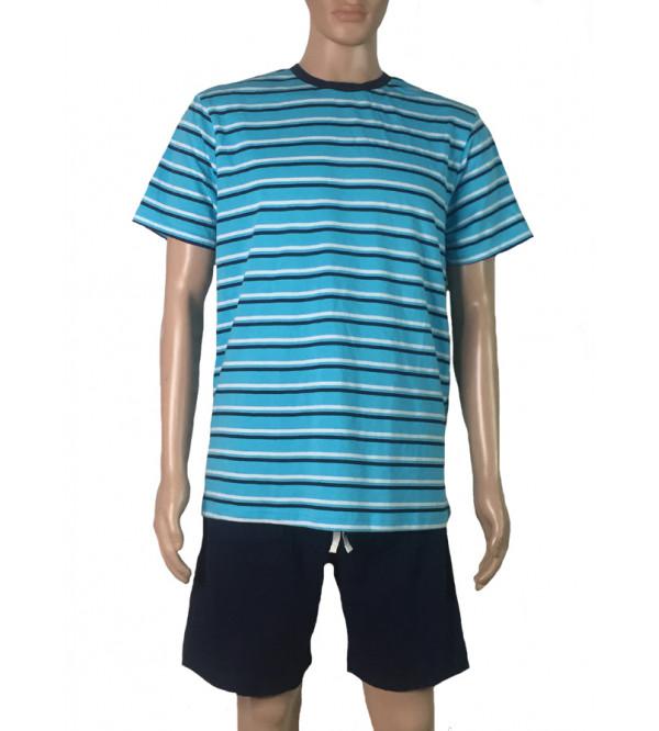 Mens Printed n Striped Shorty Pyjama Sets