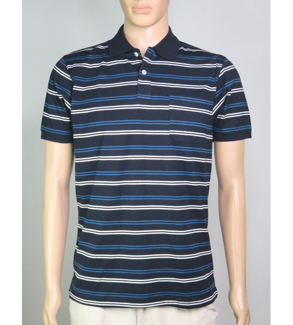 Mens Striped Fancy Polo