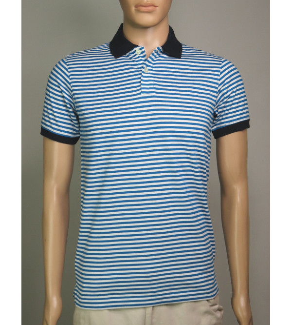 Mens Striped Fancy Polos