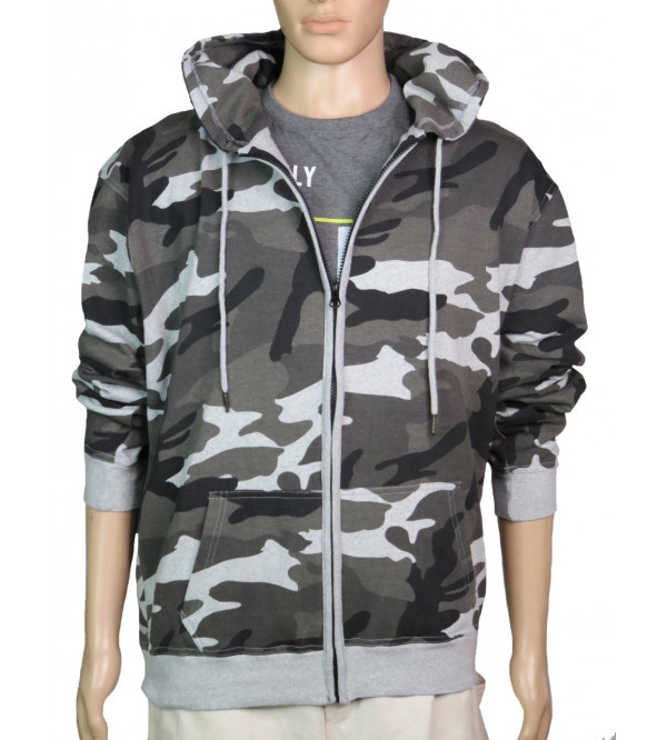 Mens Hooded Fullzipper Camo Printed Sweatshirt