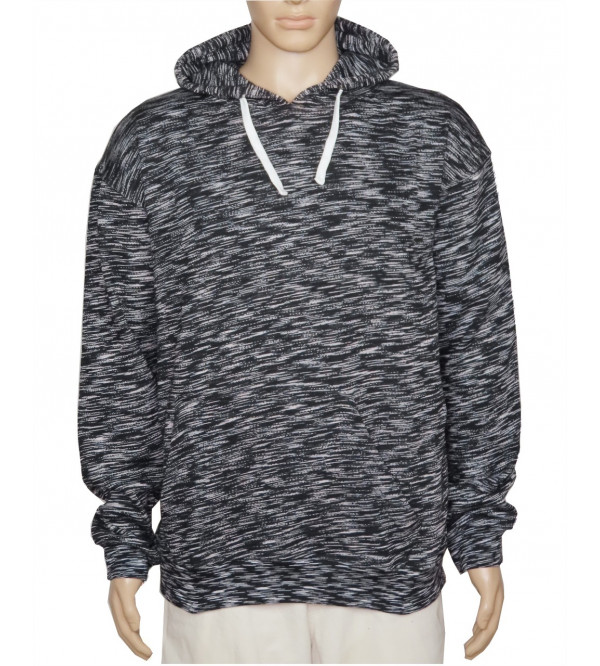 Mens Grindled Yarn Fleece Pullover Sweatshirt