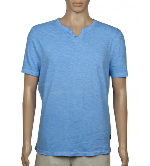 Mens Garment Dyed Y Neck T Shirt
