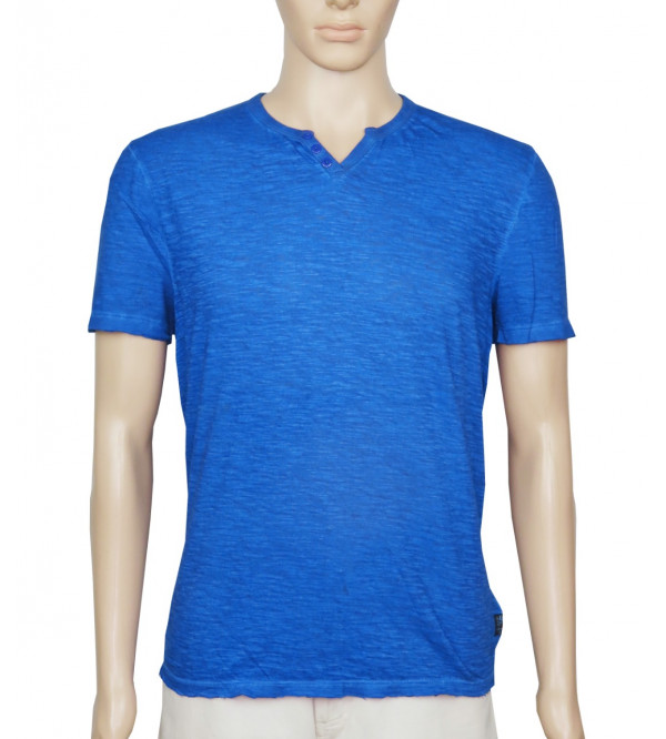 Mens Garment Dyed Y Neck T Shirt