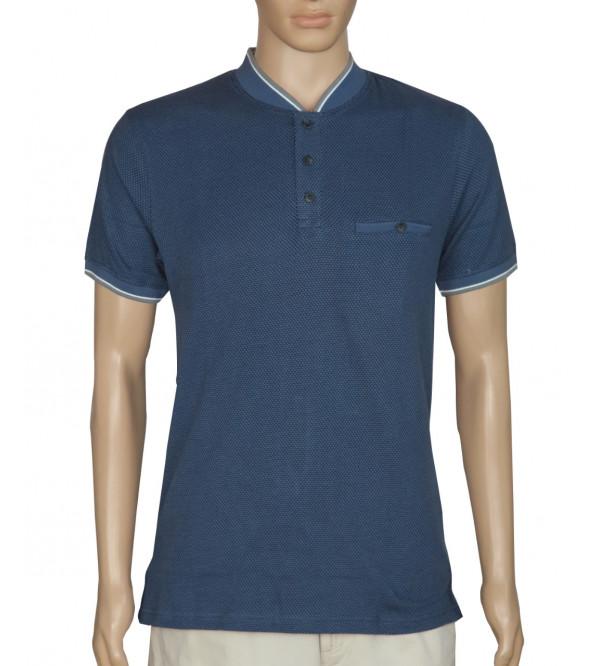 Mens Jacquard Henley T Shirt