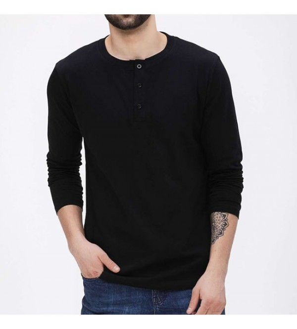 Mens Long Sleeve Henley T Shirt