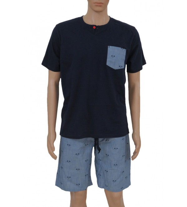 Mens Printed Shorty Pyjama Set