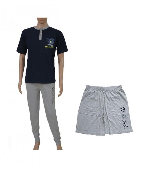 Mens Printed 3 Pcs Sets (Henley T Shirt + Full Pant + Shorts)