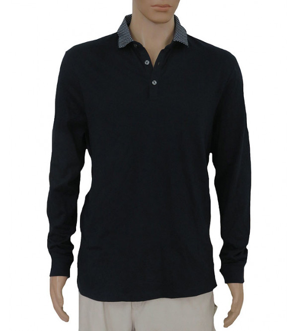 Burton Mens Long Sleeve Jacquard Collar Polo Shirt