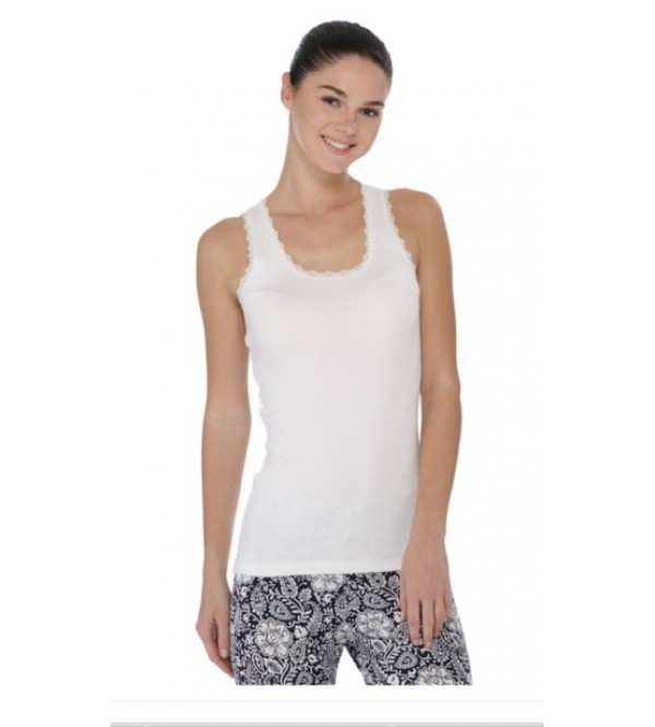 Ladies Stretch Racer Back Vest (Lace Trim)
