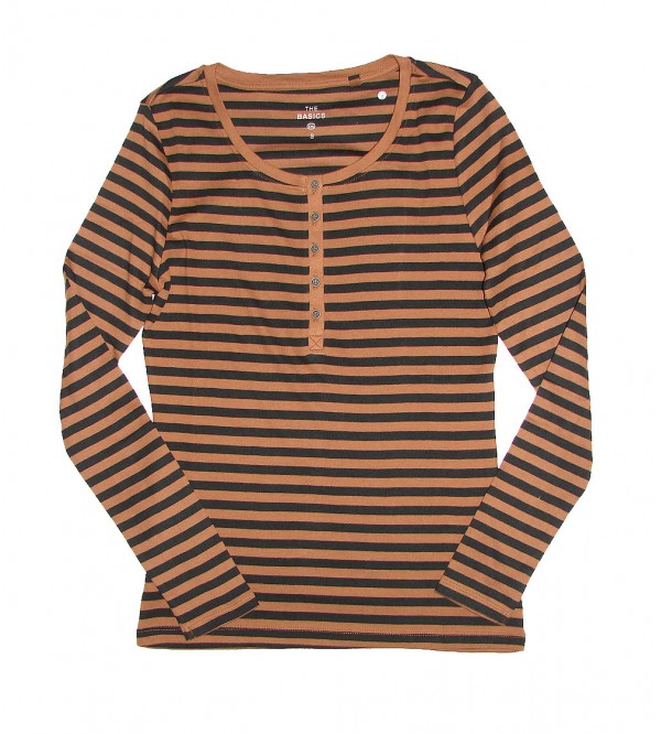 Ladies Striped Henley Top