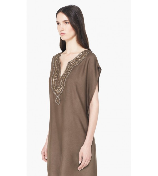 Ladies Viscose Beaded Panel Dress