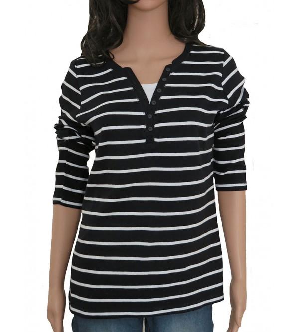 Ladies Mock Inner Striped Long Sleeve Tops