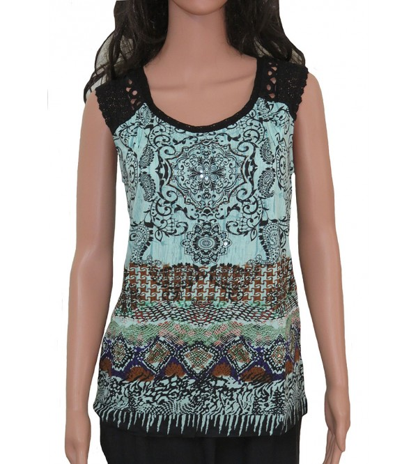 Ladies sleeveless Printed tops with crochet trim
