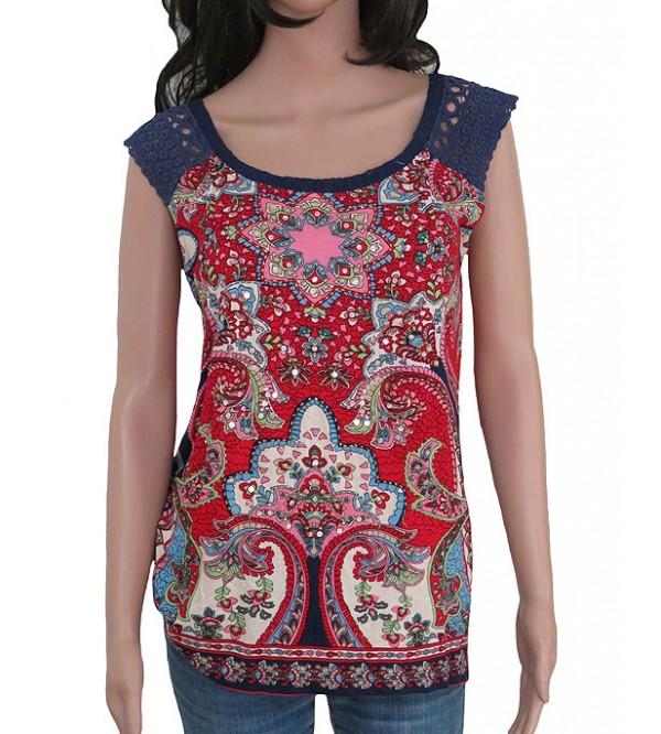 Ladies Rayon Sleeveless Printed Tops