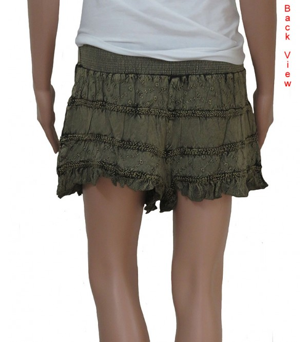 Ladies Rayon Woven Embroidery Shorts