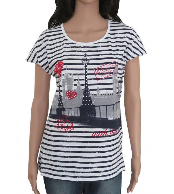 London Ladies Black &white Striped T-Shirt