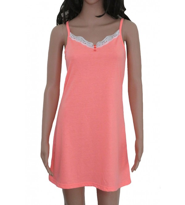 Ladies Strappy Night Shirt With Lace Trims