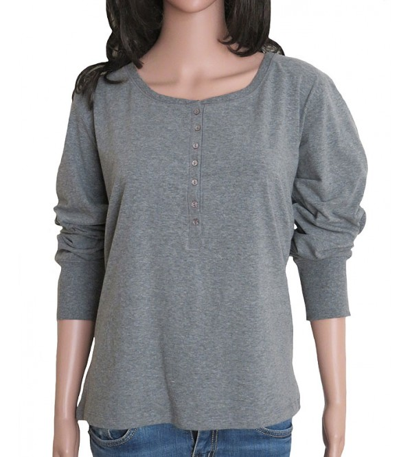 Ladies Long Sleeve Henley Neck Top