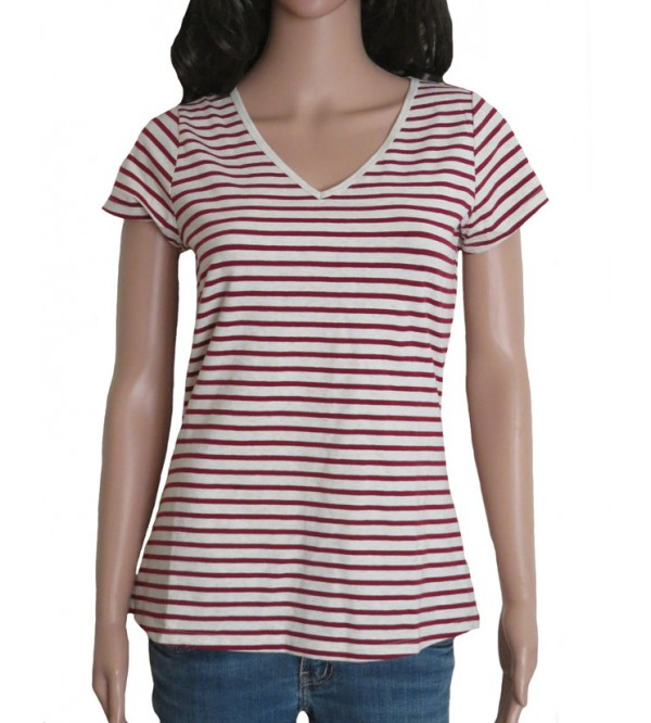 Ladies Stretch Short Sleeve Striped T Shirt