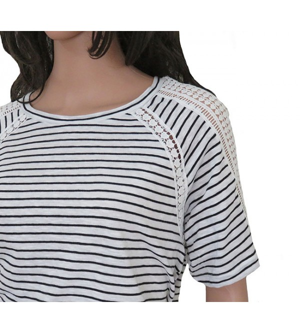 Ladies Striped Fancy T Shirt With Crochet