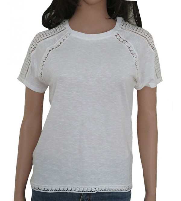 Ladies T-shirt with tone-on-tone crochet Trim