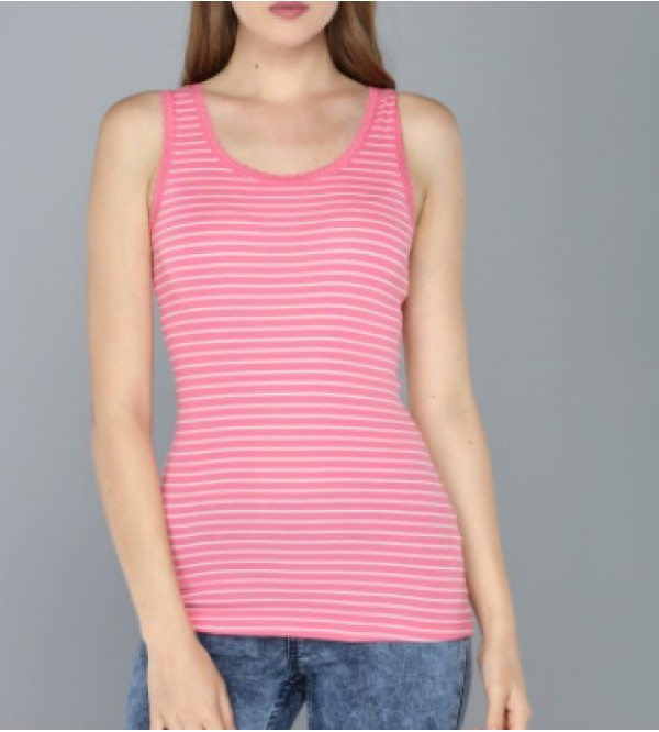 max Ladies Stretch Striped Tank Tops With Lace Trims