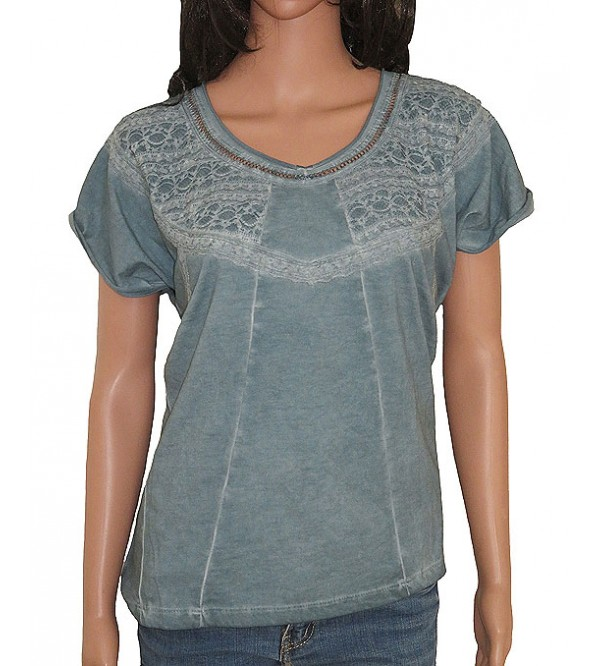 Ladies Short Sleeve Washed  Shirt With Lace Trims