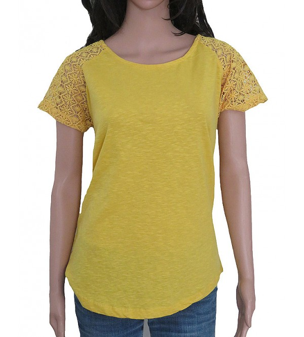 Ladies Slub Knit T Shirt With Crochet Sleeve