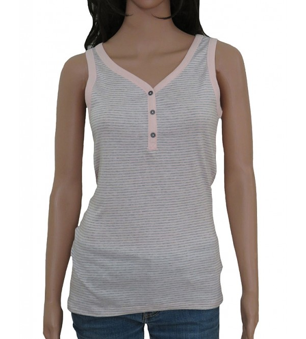 Ladies Sleeveless Henley T Shirt