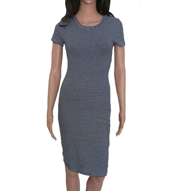 Ladies Striped Knit Stretch Dress
