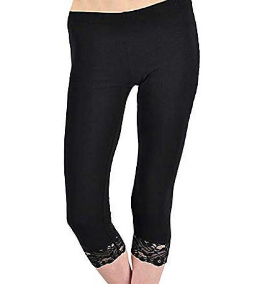 Ladies Stretch Capri Legging With Lace
