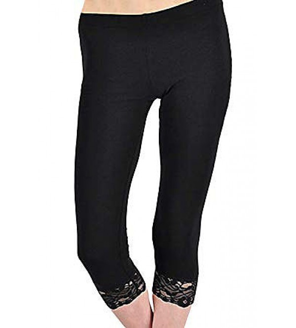 Ladies Stretch Capri Legging With Lace
