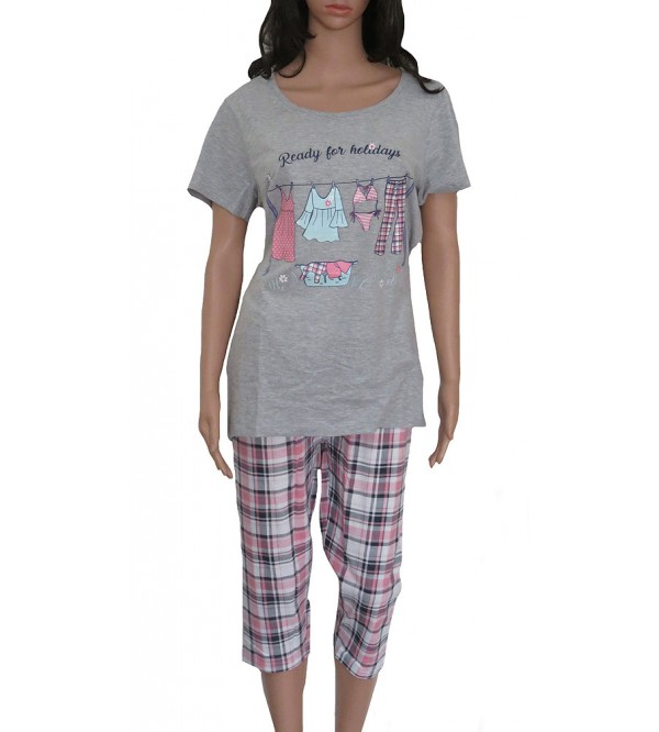 Ladies Printed Knit  Capri Pyjama Sets